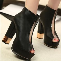 Black/ gold booties 100% leather, made in China, color: black, heel height: 5 inches Shoes Platforms