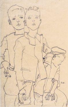 Egon Schiele - Drei Gassenbuben - 1910