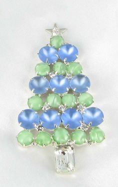 Christmas tree pin in green and blue pastel glass