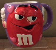 M&M Purple/Red Ceramic Coffee Cup Mug 2002 Galerie Licensed Mars Candy Co Lg #MM