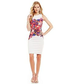 Maggy London Placed Floral Print Sheath Dress
