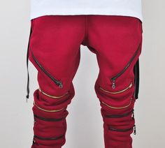Biker Drop Crotch Side Pocket False Zip Open Knee Side Cotton Jogger Harem Pants