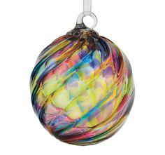 Hand Blown Rainbow Twist Glass Ornament