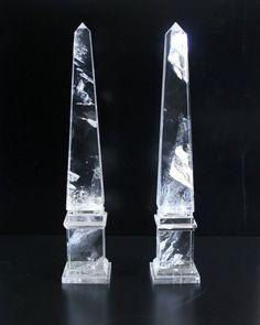 A pair of rock crystal obelisks in the Neoclassical taste.  Height: 35cm