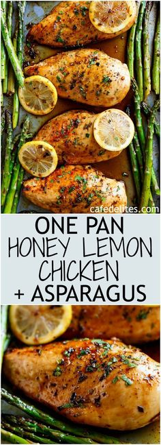 One Pan Honey Lemon Chicken Asparagus is THE ultimate sheet pan meal, perfect for meal preps or for lunch and dinner! One Pan Honey Lemon Chicken Asparagus is THE ultimate sheet pan meal, perfect for meal preps or for lunch and dinner! Honey Lemon Chicken, Lemon Chicken With Asparagus, Baked Chicken And Veggies, Baked Chicken Meals, Broil Chicken, Healthy Chicken Meals, Baked Lemon Pepper Chicken, Garlic Shrimp, Healthy Recipes