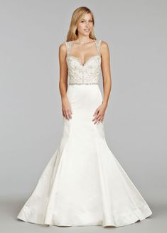 f5f0f4fd1ad Style 8404 Jim Hjelm by Hayley Paige bridal gown - Ivory Silk Faced Duchess  Satin trumpet bridal gown