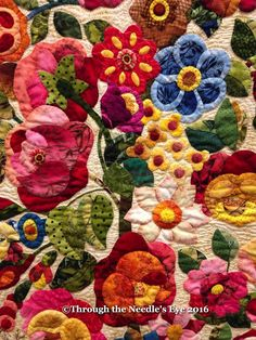 Roses by Rita Verroca About five years ago, I (Kara), was working at the Elly Sienkiewicz Appliqué Academy in Williamsburg. Flower Quilts, Free Motion Quilting, Applique Quilts, Wall Hanger, Square Quilt, Fabric Art, Color Patterns, Telling Stories, Embellishments