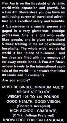 1960s Vintage Pan Am hiring ad.