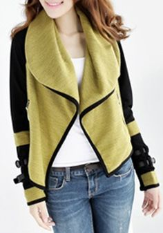 Want! Want!Want! Thinking Fall! Love this jacket so much! Yellow Plain Irregular Turndown Collar Cotton Blend Cardigan #Stylish #Chic #Color_Block #Fall #Fashion