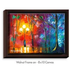 """DiaNocheDesigns 'Rainy Rendevous' by Jessilyn Park Painting Print on Wrapped Framed Canvas Size: 31.75"""" H x 41.75"""" W x 1.75"""" D, Frame Color: Walnut"""
