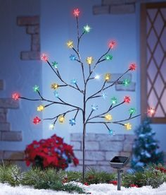 solar multi color snowflake branch tree - Solar Christmas Tree Lights