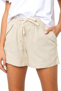 Casual Beige Faylin Women Shorts – ModeShe.com