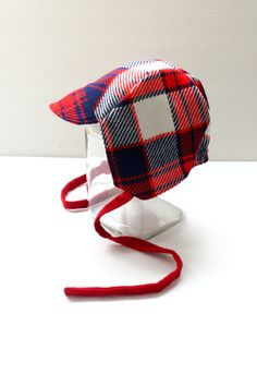 Red Plaid Baby Boy Hat Vintage Style Toddler Boy by CraftyEwings