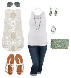"""""""Crochet Vest- Plus Size Outfit"""" by boswell0617 ❤ liked on Polyvore featuring maurices, Forever 21, Old Navy, Aéropostale, Lane Bryant and Flora Bella"""