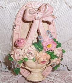 ANTIQUE Cast Iron ROSES/Flower Basket Door Knocker