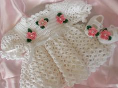 White Crocheted Baby Girl Dress and Booties with Pink Flowers for Newborn to Three Months For Christening/Blessing, Photo or Picture Prop. $60.00, via Etsy.