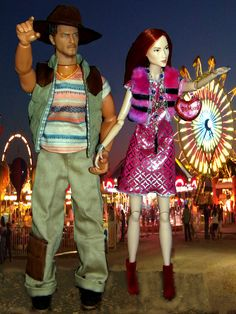 https://flic.kr/p/Rn63u7 | The County Fair | Everything from cotton candy, candy apples, bails of hay and prized livestock.  He wears; a brown velvet Stetson Cowboy hat by TTL, and reversible vest by Magic Cube, printed Tee and oversized khaki pants by Mattel, shoes by Kimber.  She wears; a fur pink vest and side flank peekaboo printed dress by Mattel, purse by Bratz, red velvet booties by Mattel, necklace via Etsy
