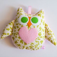 Owl Soft Toy Rattle  Pink Green and Cream by MyCreativeFrenzy, $10.00