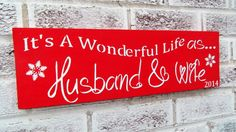"""Christmas Wedding, Wedding Signs, Winter Wedding """"It's a wonderful life as Husband and Wife"""" Customized bride groom name date opt avail #christmas #wedding #december #12-13-14"""