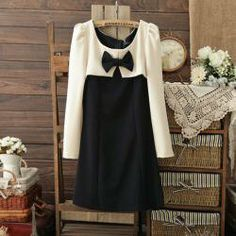 $11.00 Elegant Scoop Neck Bow Tie Color Match Long Sleeves Fitted Cotton Blend Dress For Women