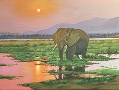 African Bull Elephant - Oil on Canvas