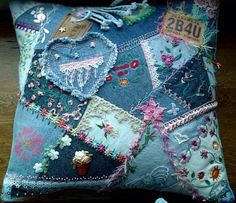 Quilted Pillow from Old Jeans