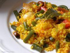 riz rond, Huile d'olive, oignon, petit pois, haricot vert, champignon, ail, poivron rouge, poivron, tomate concassée, noix de cajou...