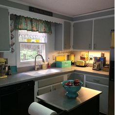 Colleen Blanchette used Driftwood to give her kitchen cabinets an updated look. An 8 ounce paint can provide 38 square feet of coverage.If you stretch the paint you can complete your cabinets in as little as $10! Make sure to start with a damp paint brush and spread the paint evenly.