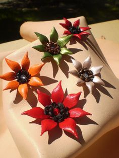 Items similar to 1 & leather flowers Sarah. on Etsy Leather Accessories, Leather Jewelry, Creative Bag, Applique Pillows, Leather Flowers, Different Colors, Gift Wrapping, Hand Painted, Trending Outfits