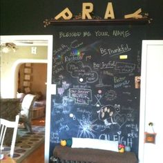 Prayer Wall with chalkboard paint. Prayer Ministry, Church Ministry, Ministry Ideas, Prayer Wall, Prayer Room, Youth Group Rooms, Chalkboard Paint, Chalk Paint, Prayer Stations