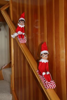 Elf on the Shelf candy cane sleds. Insert thin wire in arms and legs to make them posable!