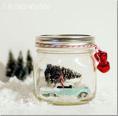Car in Mason Jar Snow Globe - Mason Jar Crafts Love