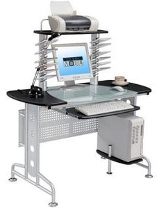 small graphite glass top computer desk - Glass Top Computer Desk