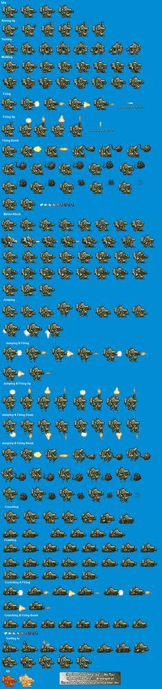 Sprite Database : Slug Gunner Character Illustration, Graphic Illustration, Sprite Database, Pixel Characters, Pixel Art Games, Animation Tutorial, Games Images, Animation Reference, Game Assets
