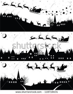 Set of christmas silhouettes. - stock vector