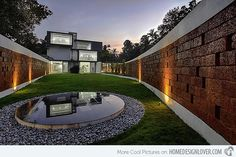 House Landscaping Ideas with Awesome Interior Designs: Awesome Contemporary Landscape With Round Pool Surrounded By Pebbles And Lawn At Running Wall Residence ~ CLAFFISICA Architecture Inspiration Indian Architecture, Interior Architecture, Casa Patio, Round Pool, Contemporary Landscape, Contemporary Homes, Landscape Designs, Contemporary Architecture, Fence Design