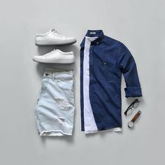Ripped denim shorts from 🔥Told you they make some of the best streetwear-inspired pieces! Don't forget to join our giveaway. Check out my previous post. Mens Casual Dress Outfits, Tomboy Outfits, Short Outfits, Summer Outfits, Trendy Mens Fashion, Men Fashion Show, Style Fashion, Denim Shorts Outfit, Outfit Grid