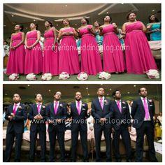 Nigerian wedding fuchsia pinknbridesmaids dresses with groomsmen tie Kirth Bobb Photography.jpg