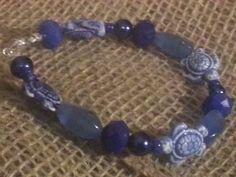 Blue beaded Turtle bracelet