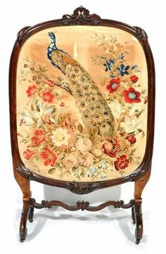 antique fire screen- peacock and flowers tapestry fire screen