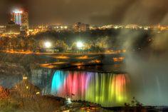 Horseshoe Niagara Fall at Night, Ontario Niagara Falls At Night, Ontario, Northern Lights, Canada, Nature, Travel, Naturaleza, Viajes, Destinations