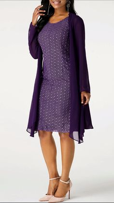 Long Sleeve Chiffon Cardigan and Lace Dress Women's Dresses, Tight Dresses, Cheap Dresses, Casual Dresses, Fashion Dresses, Chiffon Cardigan, Belted Shirt Dress, Tee Dress, Two Piece Dress