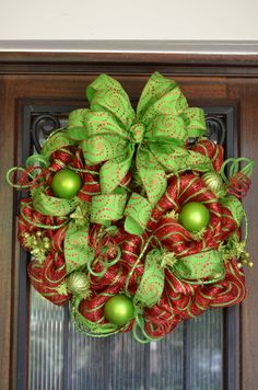 Christmas Deco Mesh Wreath, Red and Lime Green