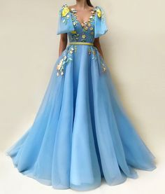 This dress is Made-To-Order in our Dressself. Blue Tulle Evening Dresses V Neck Long Prom Gowns with Appliques Bowknot. Suitable for Party, Prom and Evening. Winter Prom Dresses, Unique Prom Dresses, Beautiful Prom Dresses, Trendy Dresses, Elegant Dresses, Blue Dresses, Evening Dresses, Blue And Yellow Dress, Formal Dresses