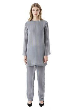Allen Georgette Pants, Verona Stripes