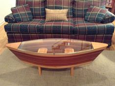 Handmade Canoe Shaped Glass Top Boat Shelf Coffee Table Home Decor