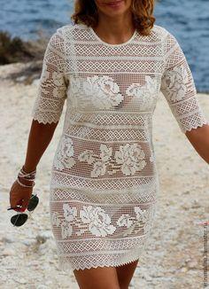 Купить Кружевное платьице - бежевый, цветочный, Филейное кружево, кружевное плтьице, 100% хлопок