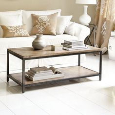 "Durham Cocktail Table  Dimensions:  Overall: 18 1/4""H X 50""W X 24""D  Between Shelves: 12 3/4""H  Construction: Frame is made of metal with a rubberwood planked top.  $349.00"
