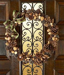 gather pine cones and nuts to make a wreath . . .