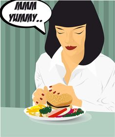 Love burger like Mia Wallace❤️   Tarantino Pulp fiction Vector illustration
